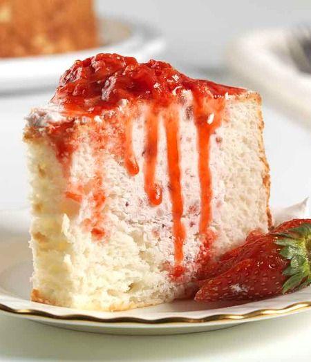 Strawberry Filled Angel Food Cake