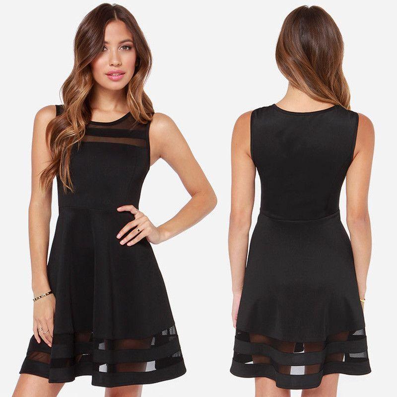 Scoop Splicing Mesh Hollow Out Short Dress