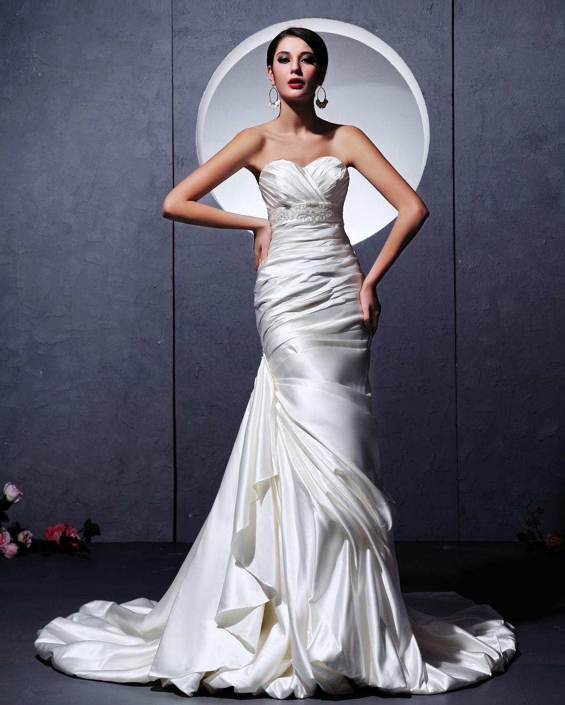 wedding dresses for older brides | Satin Sheath mature bride wedding ...