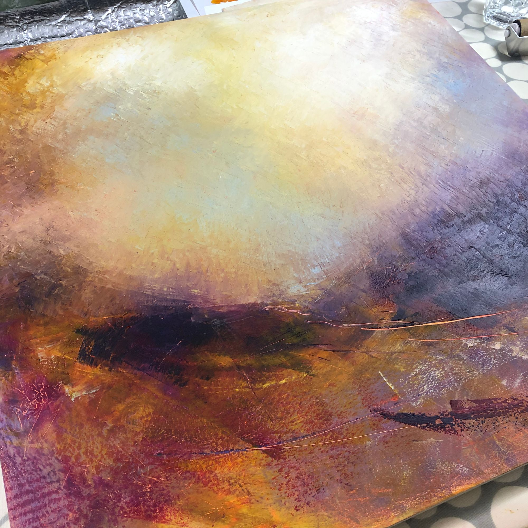 Starting Working On A Wooden Panel This Weekend Lots Of Moody Skies Being Developed Expressivepainting Intuitivepainting Abstractlandsc In 2020 Intuitive Painting