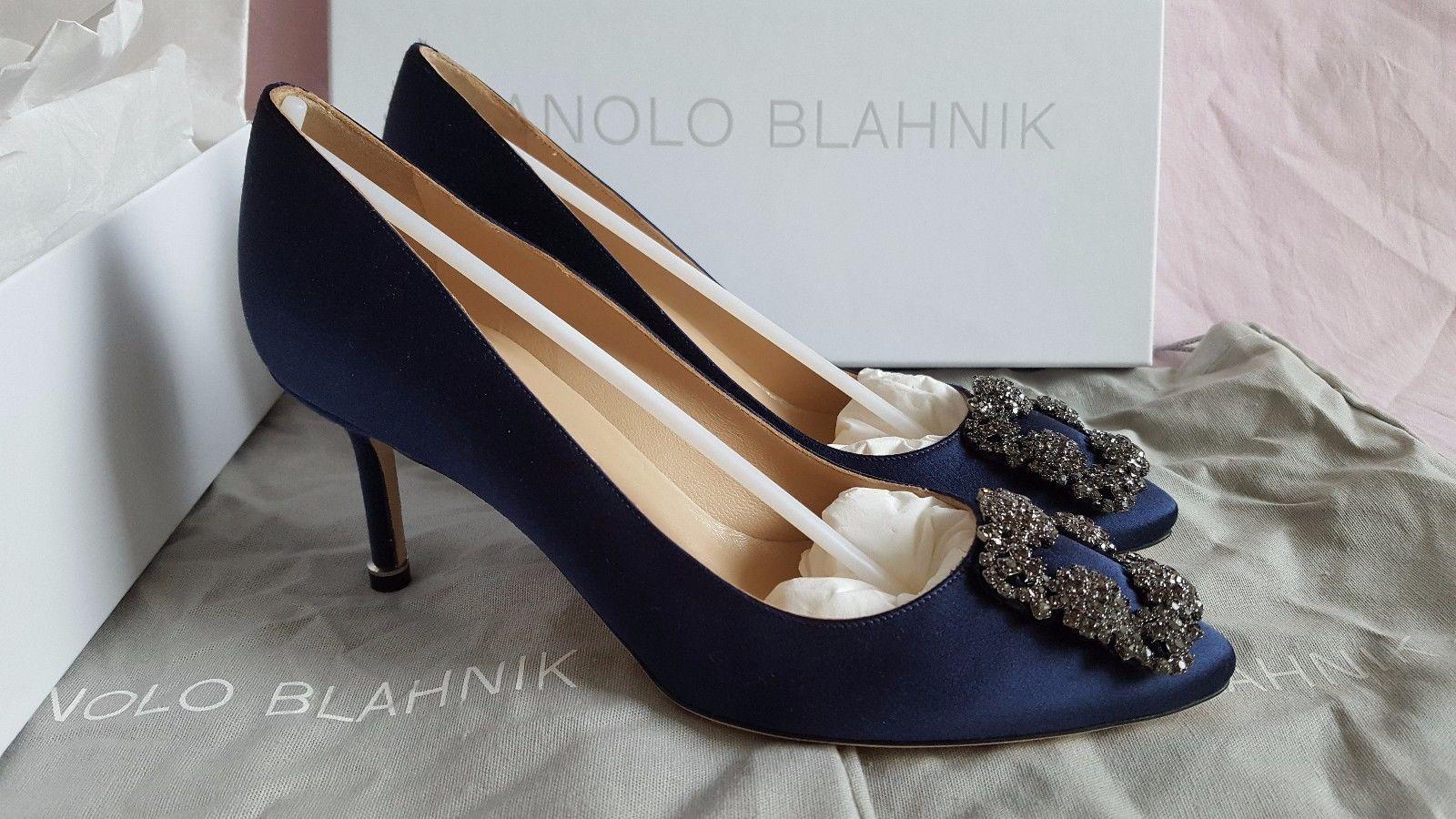 664bce174a7 New Authentic Manolo Blahnik Hangisi 70 Navy Blue Satin Shoes Heels Pump FMC