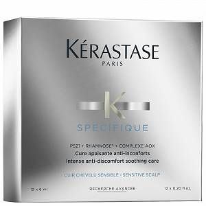 Soothe itchiness and irritation with the Specifique Cure Apaisant Anti-Inconforts Treatment from Kérastase, an intensive 4-week set of leave-in treatments to help ease discomfort caused by dry scalps. Utilising innovative haircare technology, the formula penetrates deep into the fibre to calm and nourish.