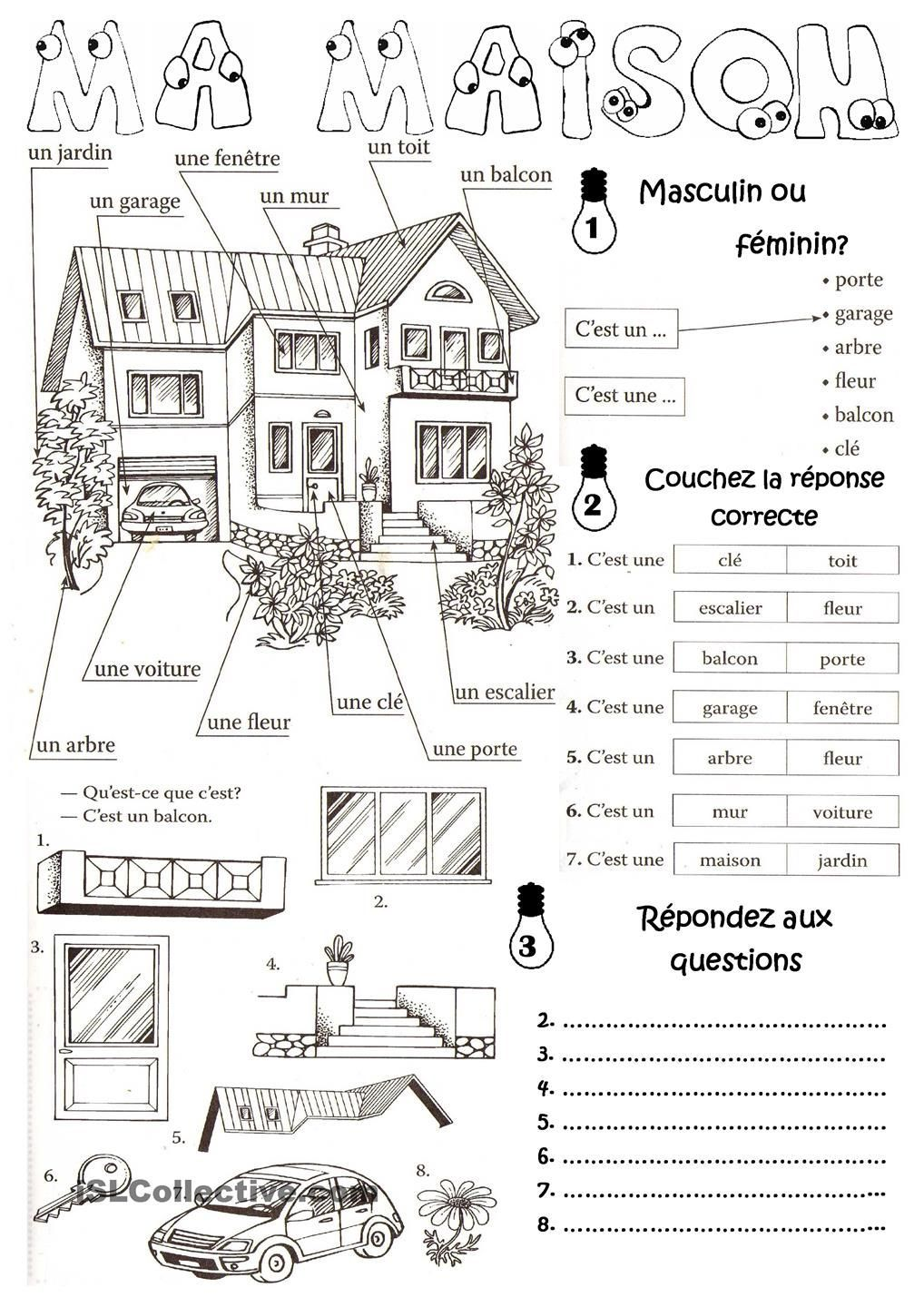Maison Vocabulary For The House Lesson Plan French