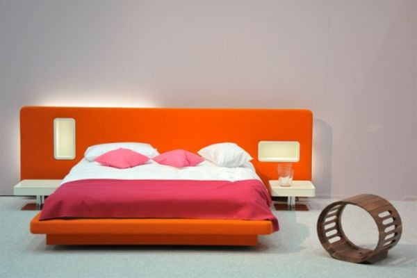 modernes-bett-design-warme-farben- bett - Warme Wandfarben - schlafzimmer warme farben