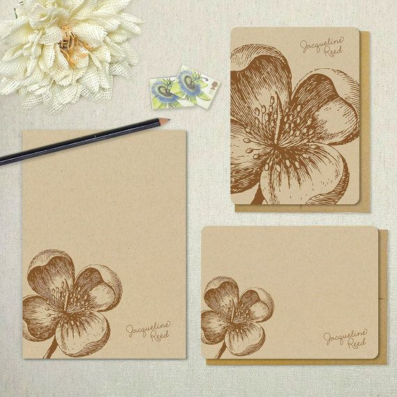 10 Folded Exquisite Lotus Blossom Personalized Note Cards