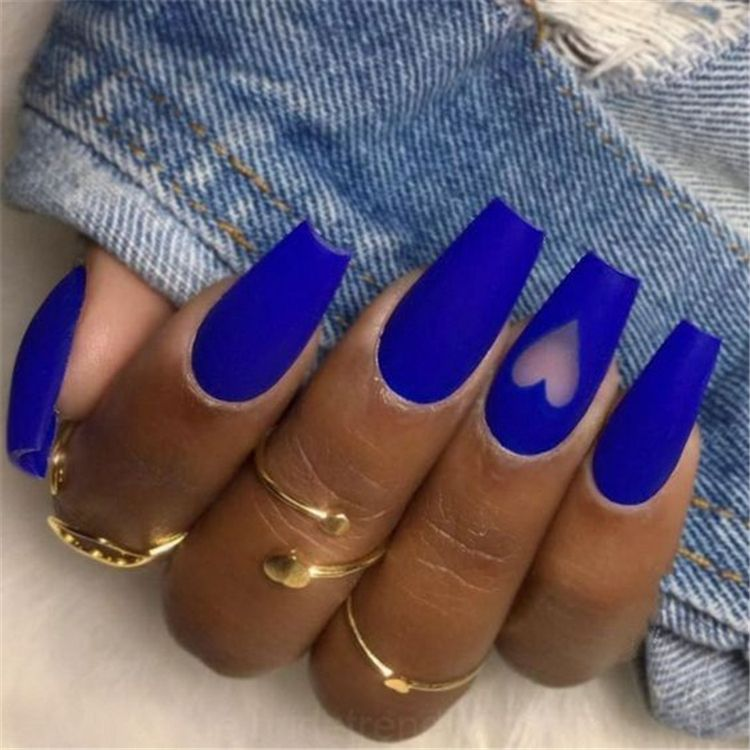 40 Gorgeous Dark Blue Coffin Nail Designs You Must Try This Winter Page 33 Of 40 Cute Hostess For Mode In 2020 Blue Coffin Nails Blue Acrylic Nails Fun Nail Colors