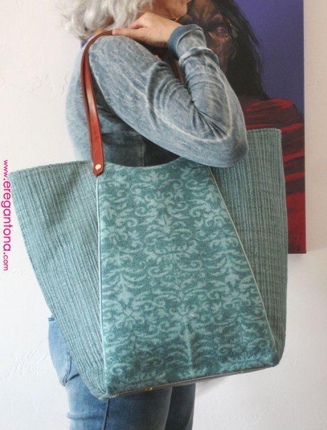 reciclado bolsa patchwork de guisante negro/zebra/jean / cuero