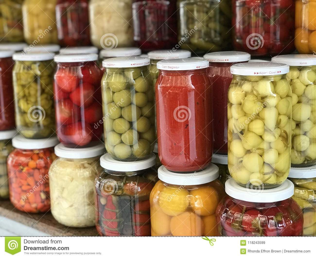Photo About Assorted Home Canned Fruits And Vegetables In Clean