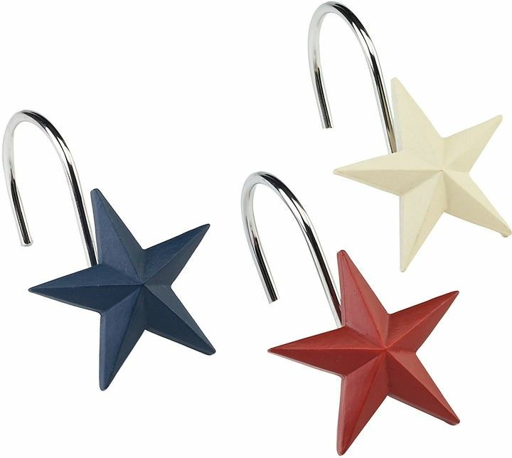 Red White Blue Star Shower Curtain Hooks Show Off Your