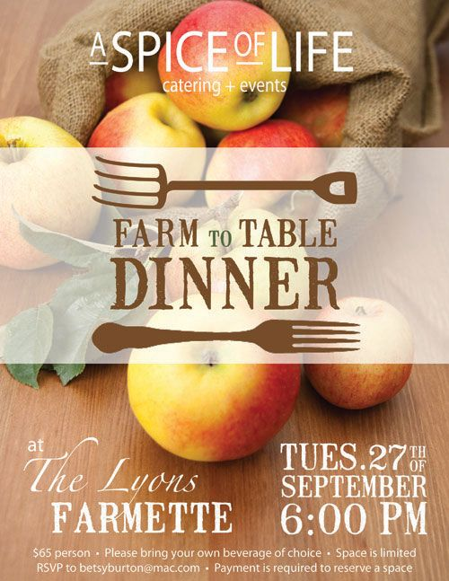 Farm to Table Dinner Flyer Farm to Table Pinterest Farming