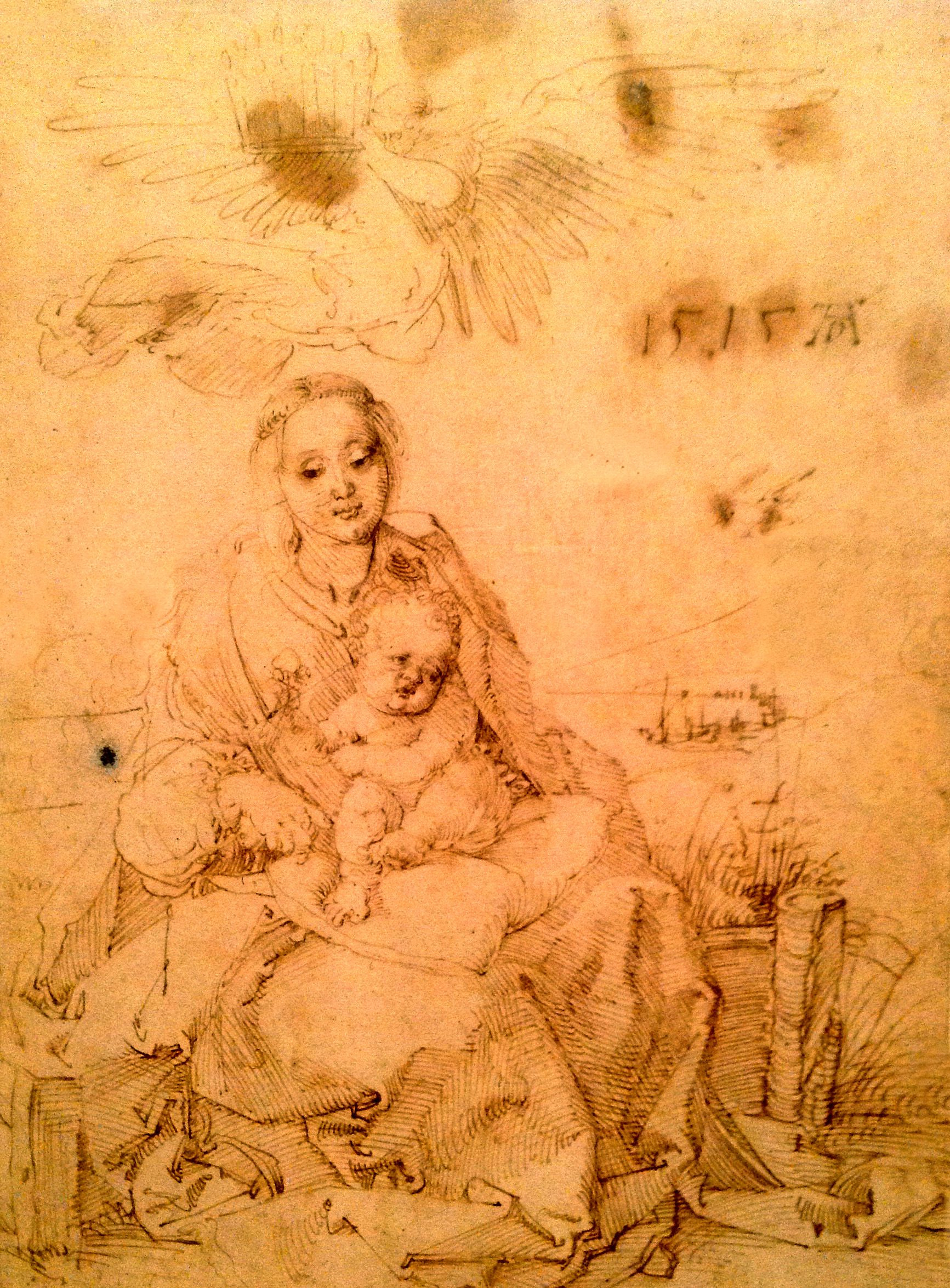Kds Art Queen S Gallery London Pen Drawing By Albrecht Durer The Virgin Child Crowned By An Angel 1515 Albrecht Durer Art Pen Drawing