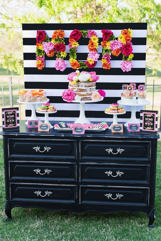 Colorful Mother's Day Party. Love the black and white with bright pops of color