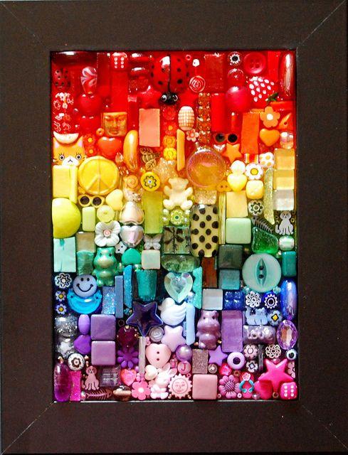 Another Rainbow Mosaic Crafts Mosaic Art Button Art