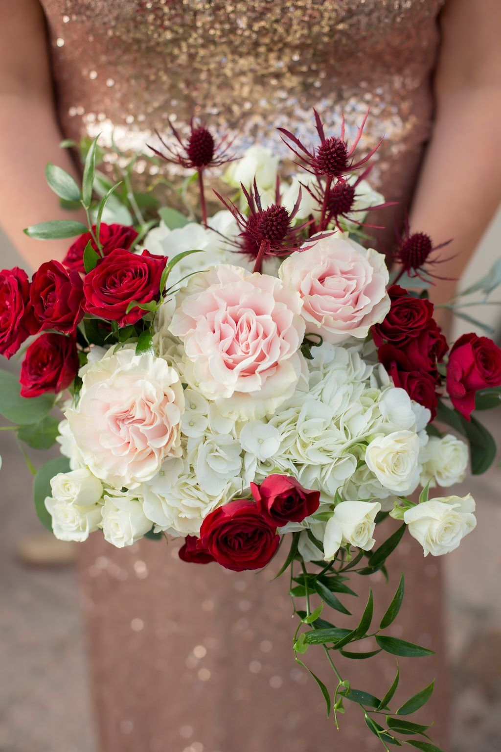 Glamorous Red and Blush Pink South Tampa Wedding   Thistle bouquet ...