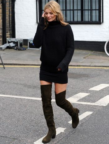 4e584edfd14 Black sweater dress with black over-the-knee boots... Check!