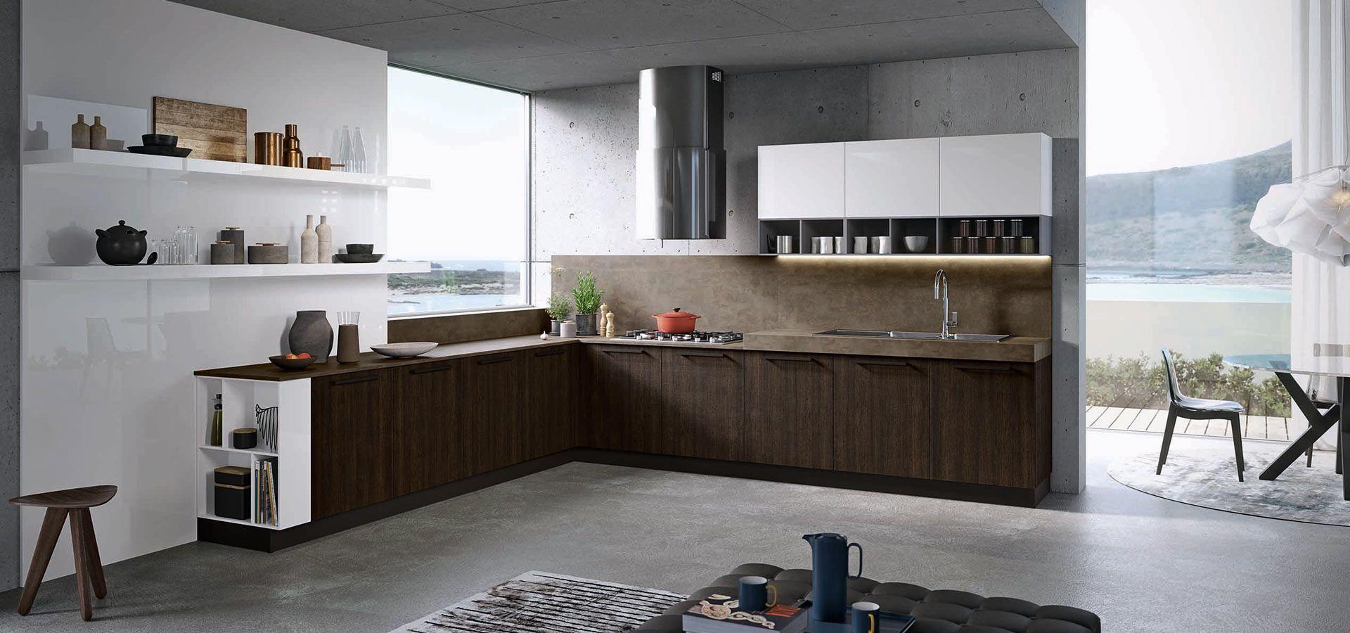 Cucina Moderna Lucida Grigia e Bianca con Rovere - Round - Arredo3 ...