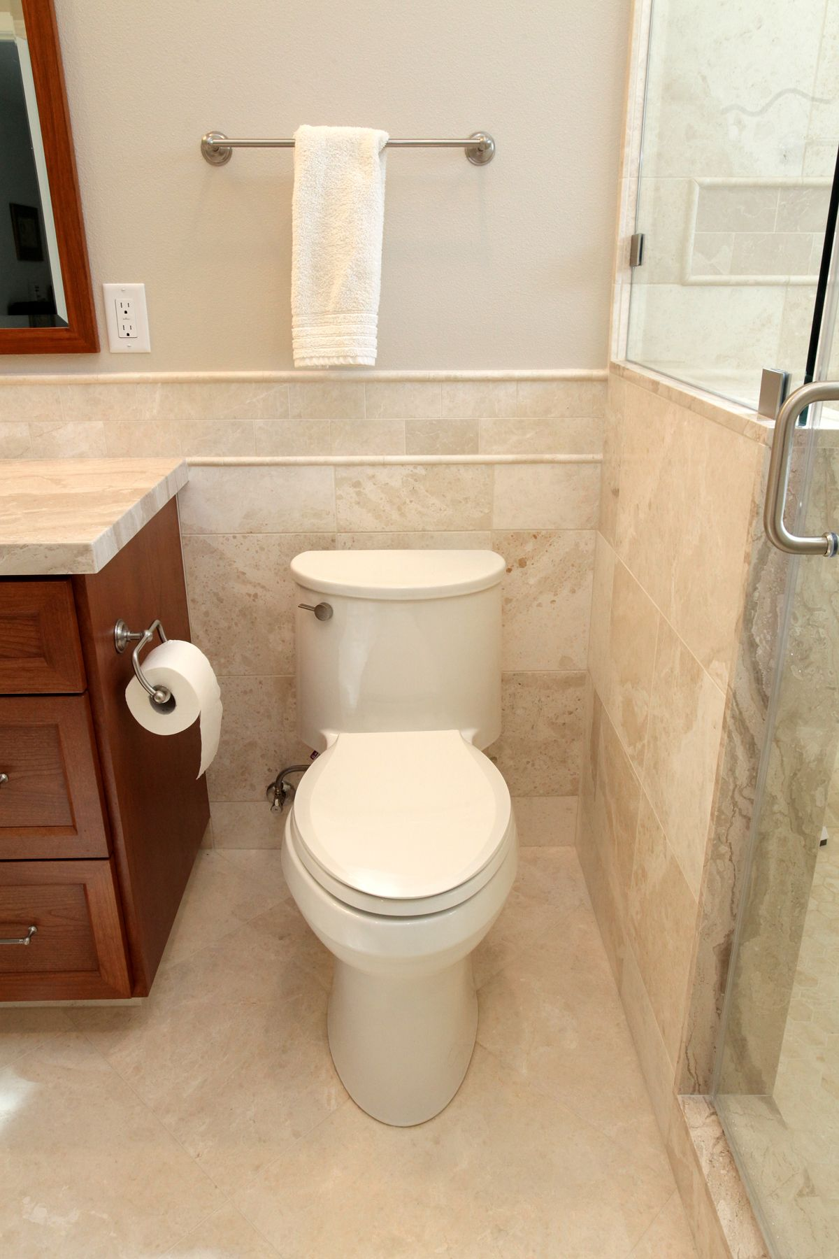 Comfort height, low flow toilet with tiled privacy wall; brushed ...