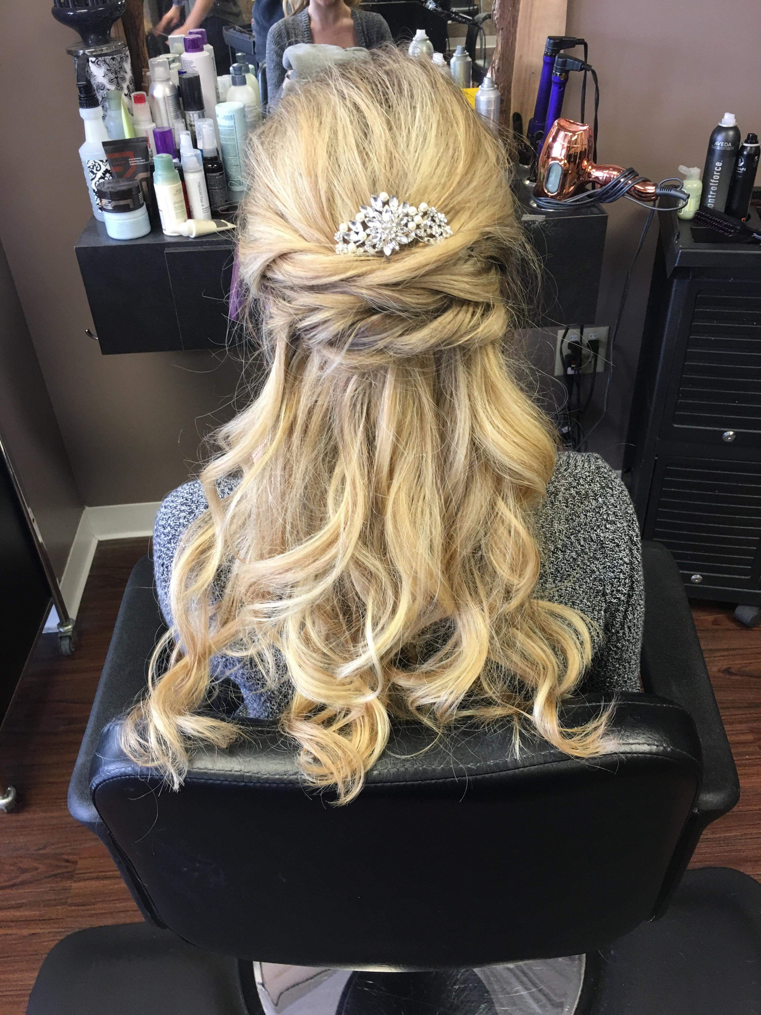 Glitzy Bridal Hairpiece With Half Up Half Down And Twists Bridal