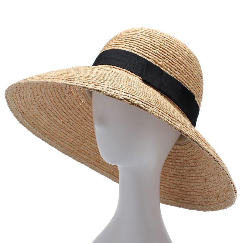 Mujeres Del Sombrero Del Sol De Ala Ancha Señoras Elegantes Sombreros de  Paja de la Rafia 5f70c4d0c3b