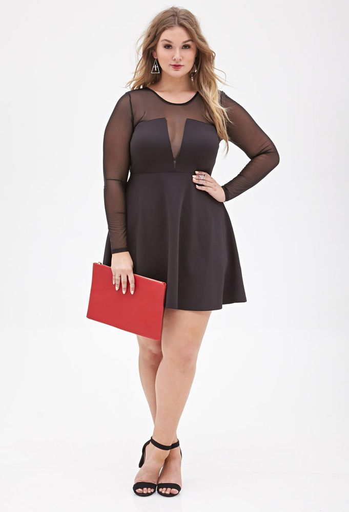 7214659019f FOREVER 21 PLUS SIZE FIT AND FLARE CLASSY DRESS SIZE 3X plussize dress  sexy fshion bbw