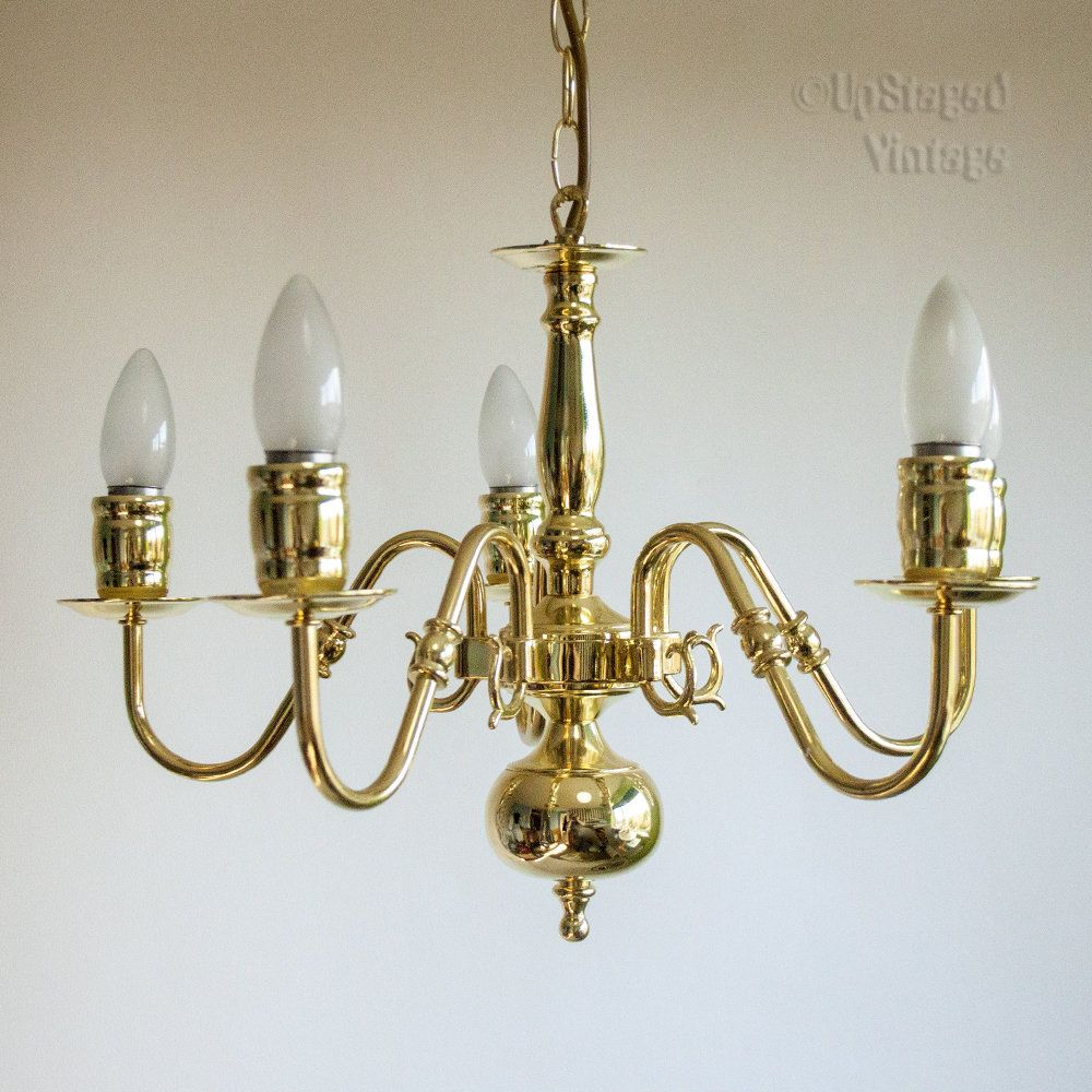 Vintage Retro 1990s British Home Stores Brassed Finish 5-Arm Ceiling ...