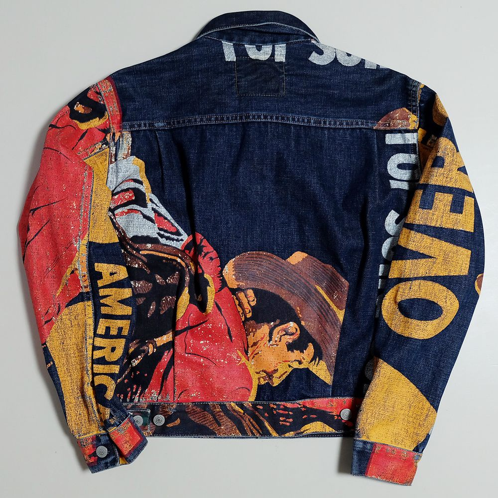 15d202fed Vintage LEVIS Ad American Hand Painted Cowboy Denim Jacket Jeans - Japan  Lover Me Store