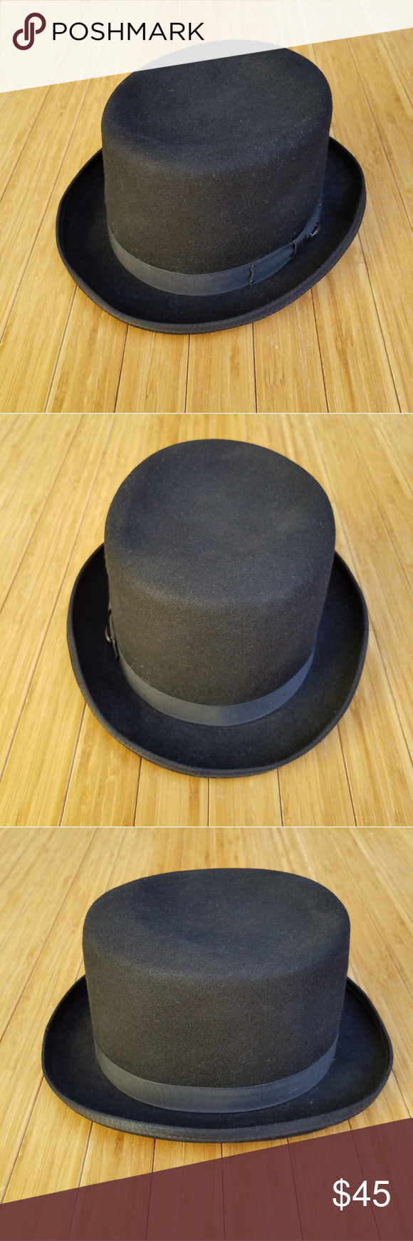"""f775017be821a Bailey Of Hollywood """"Tino"""" Black Wool Felt Fedora Bailey Of Hollywood  """"Tino"""" black wool felt fedora. Features a black hat band with an oval metal  """"Bailey"""" ..."""