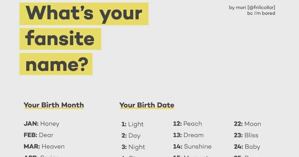 Instiz What S Your Fansite Name Names Birth Month Quotes