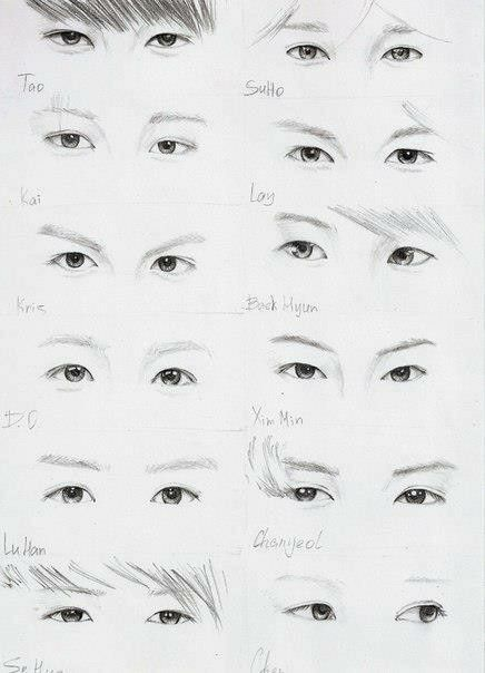 Exo Eyes Fanart Sooo Amazing Exo Drawing Exo Art Exo Fan Art