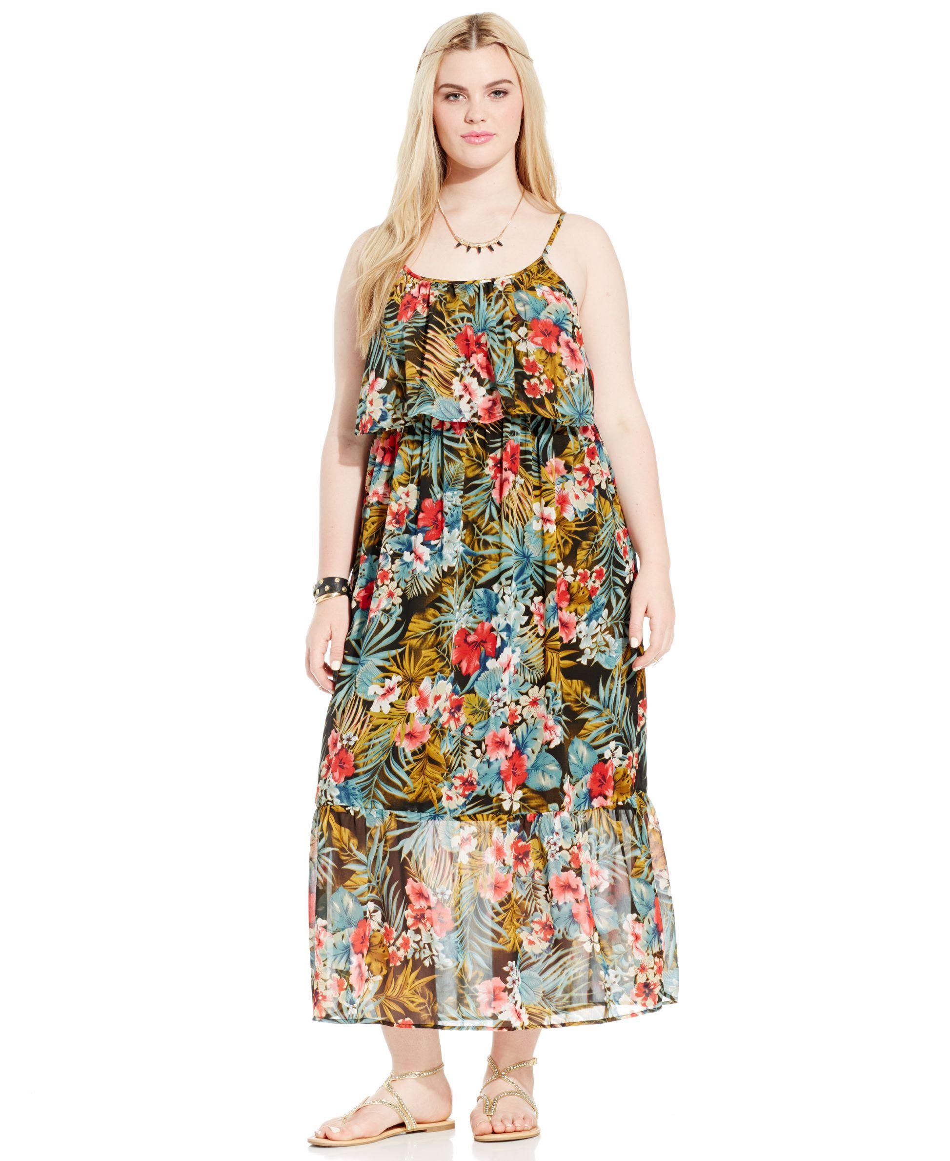 Stevie and lindsay plus size floralprint ruffled maxi dress