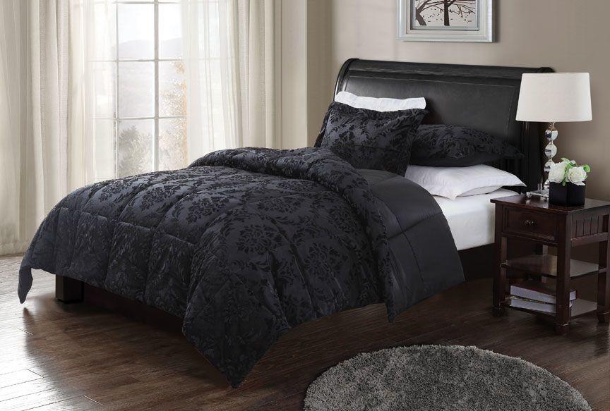 Black Damask Bedding Google Search Comfortable Bedroom Black
