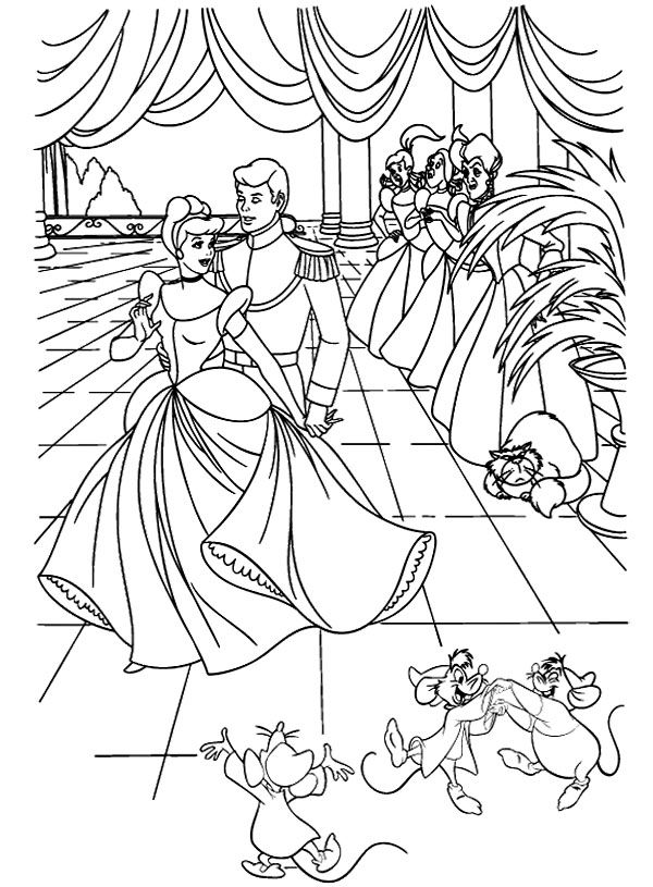 Cinderella And The Prince Royal Palace Coloring Pages