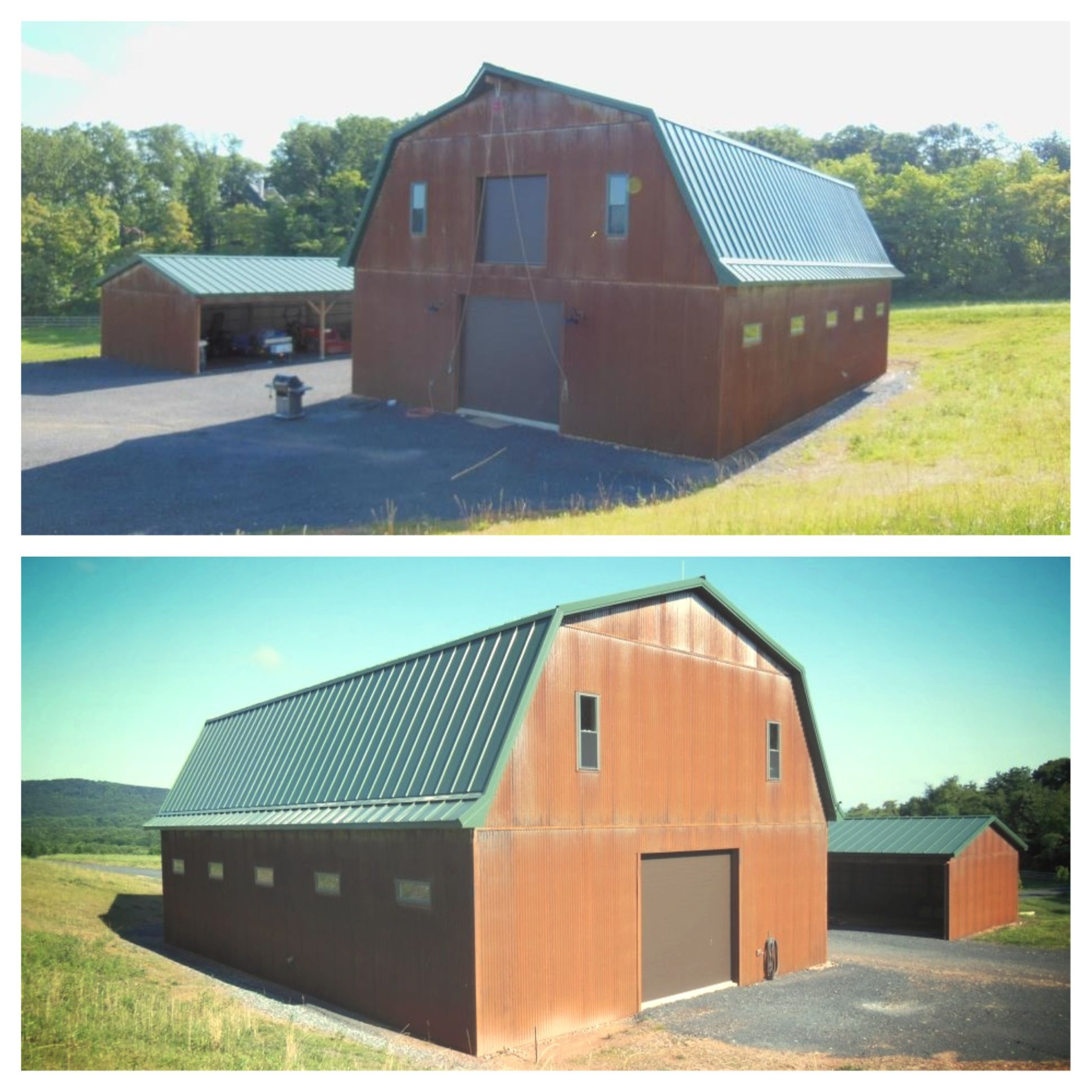2 Story Barn With Classic Green Metal Roof And Rustic Corrugated Metal Siding Corrugated Metal Siding Metal Siding Metal Roof