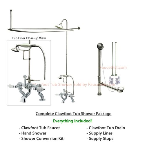 Chrome Clawfoot Tub Faucet Shower Kit With Enclosure Curtain Rod