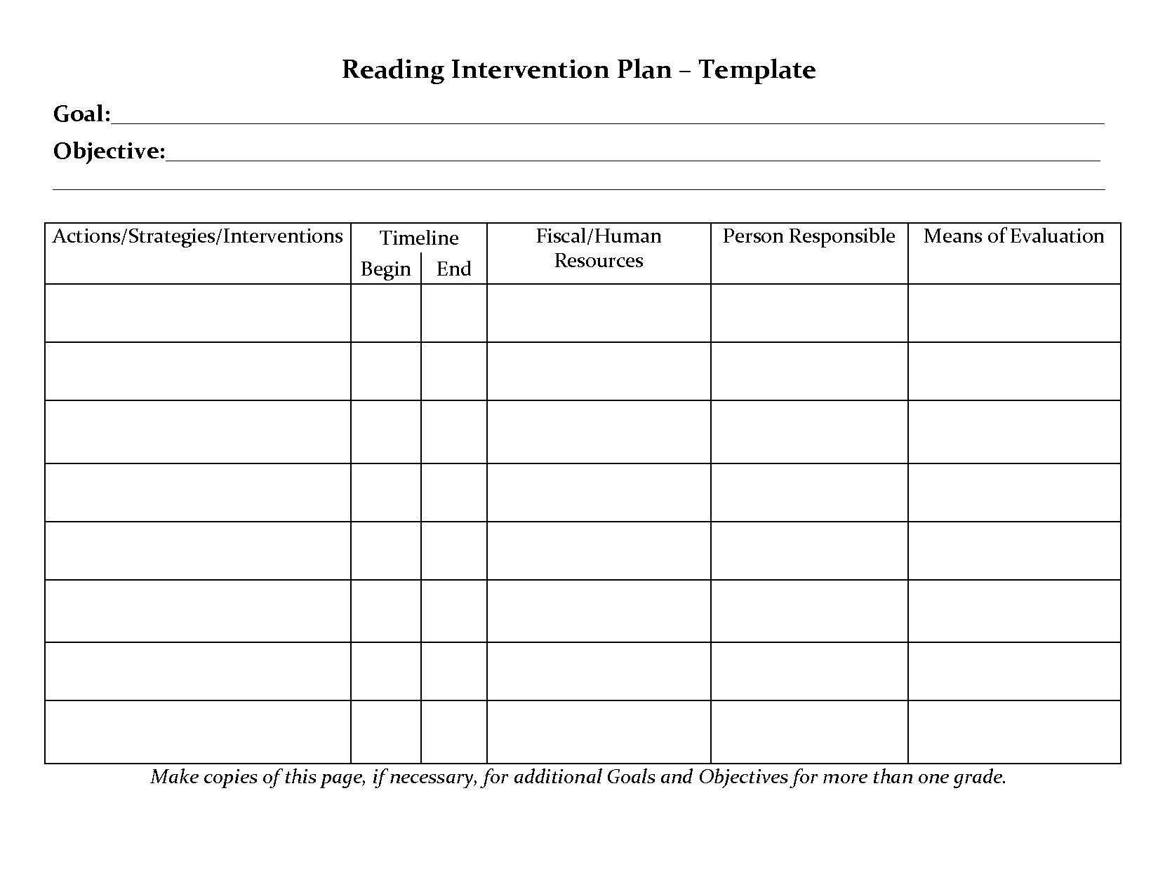 student planner templates reading intervention plan template