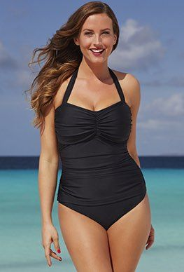 c844839fbdc3a One Piece - Shore Club Black Halter Swimsuit   One Piece Swimsuits ...