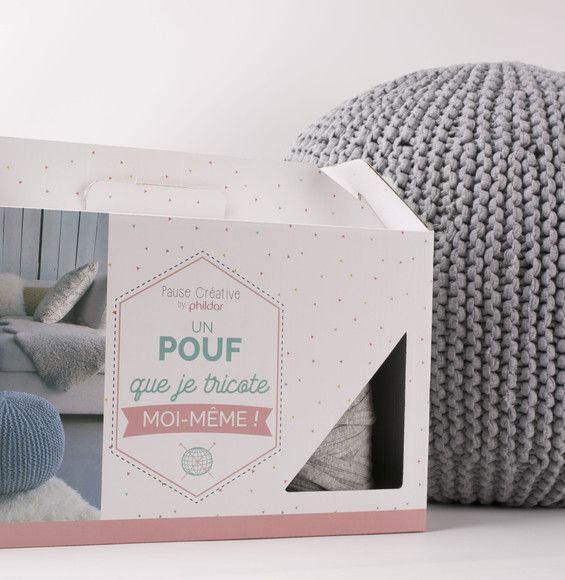 kit je tricote mon pouf gris chin pouf et tricoter. Black Bedroom Furniture Sets. Home Design Ideas