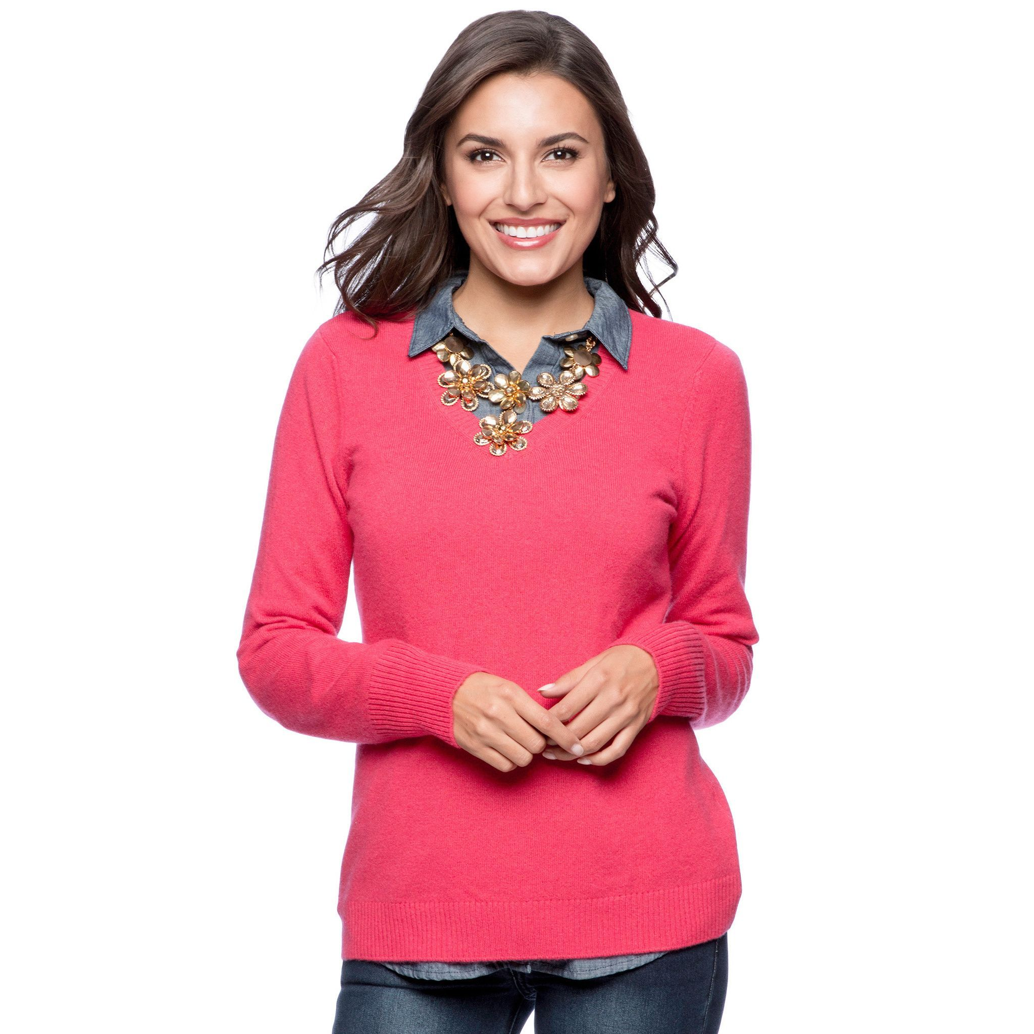 d6c8e1ea4f774 Wrap yourself in luxury when you wear this V-neck sweater made of  100-percent cashmere. This long sleeve top can be layered in the cooler  seasons or worn ...