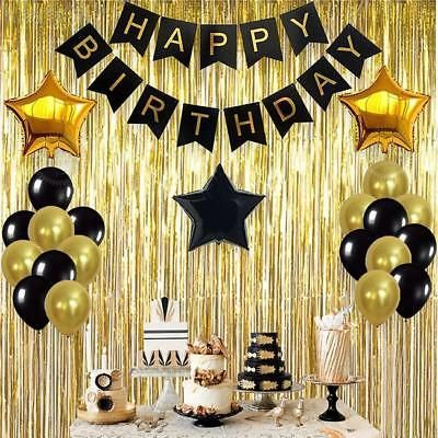 Multi Color Happy Birthday Banner Party Decorations Bunting Gold