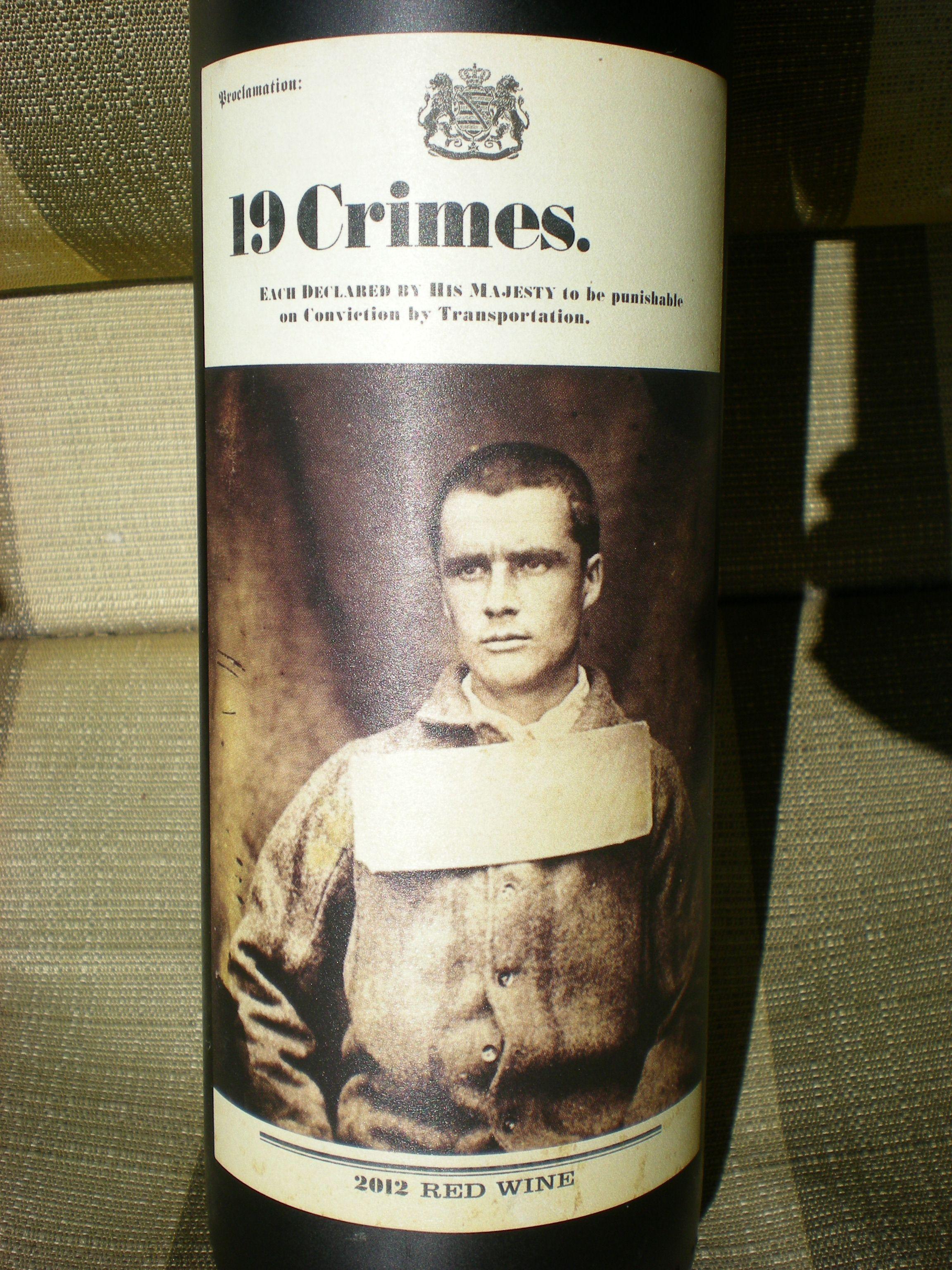 19 Crimes South Eastern Australia, Aus. Wine Labels
