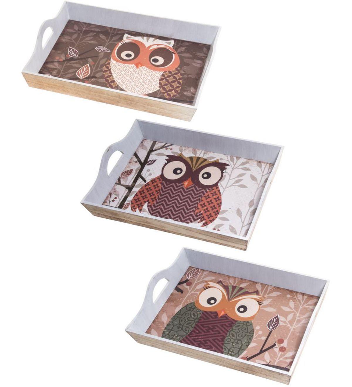 Living Pöllö tarjotin molemmat koot käy 38,5X27X8 11,90 e ja 43x30,5x8,5 16,90 e
