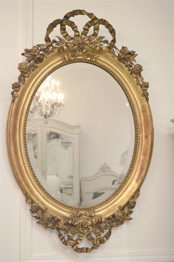 Full Bloom Cottage Gold Framed Mirror Oval Mirror Bathroom Vintage Mirrors