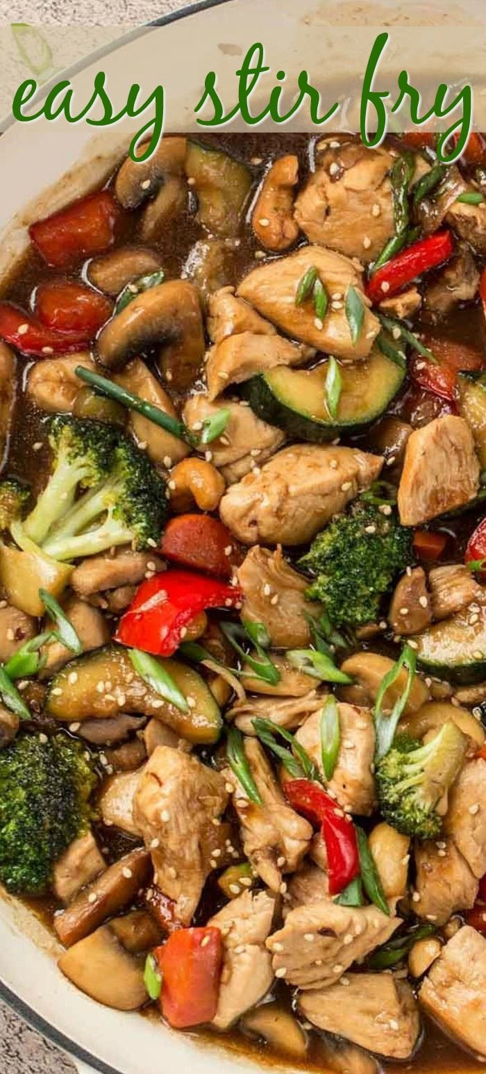 This easy Chicken Stir Fry recipe is amazing! Chicken with vegetables smothered in the most delicious garlic and ginger honey soy sauce. The stir fry is completely ready in 30-minutes, perfect for busy weekends. #stirfrysauce