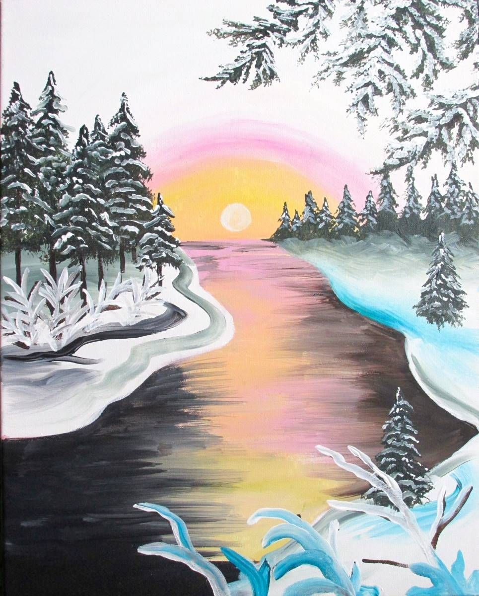 Winter River Pastel Sun Blue Snow Evergreen Trees Beginner Canvas Painting Winter Painting Canvas Painting Diy Canvas Painting