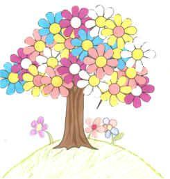 DLTK Kids crafts spring tree use foam flower shapes for the