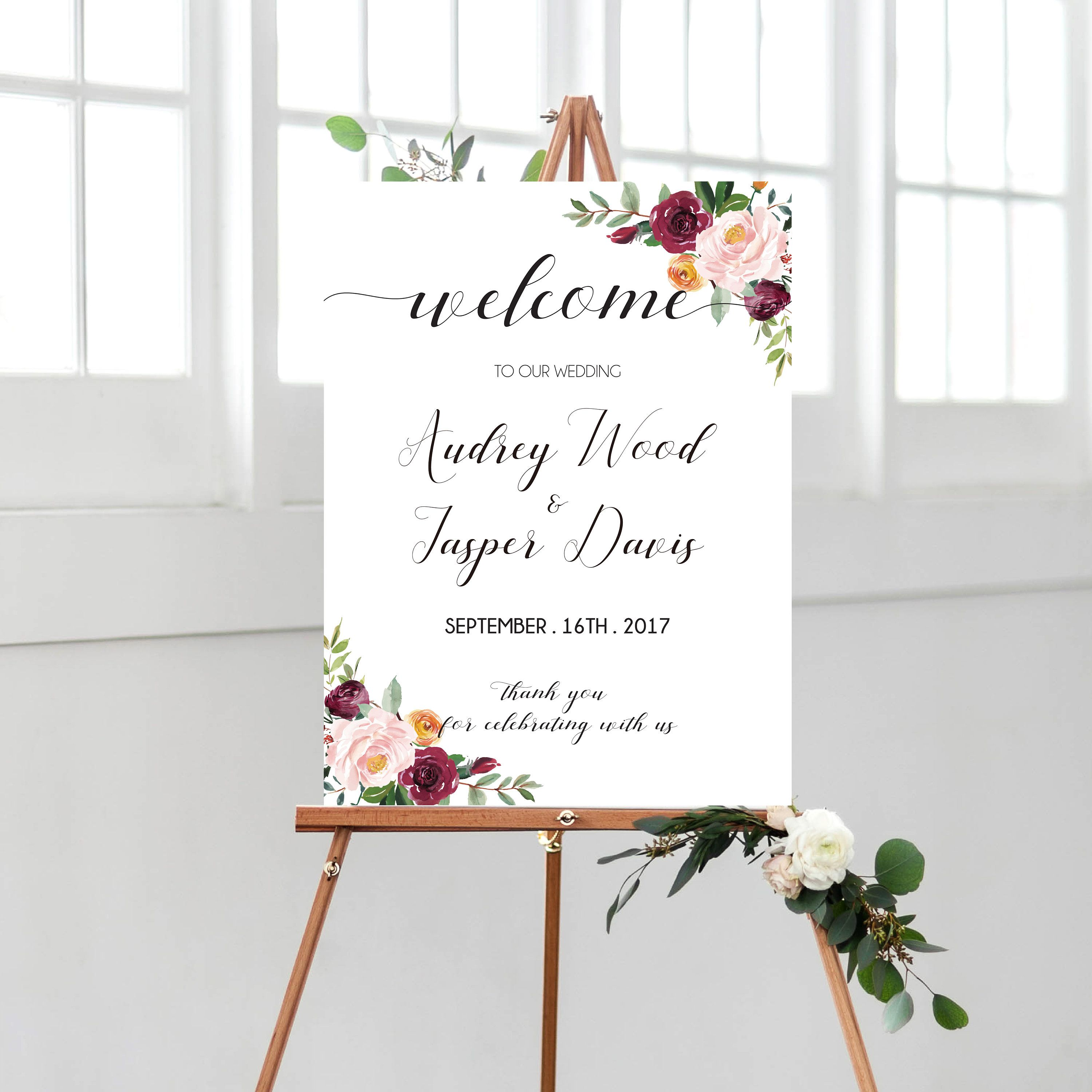 3e4dfebfdd5d7 Burgundy Watercolor Flowers Welcome Wedding Sign Printable,Marsala ...
