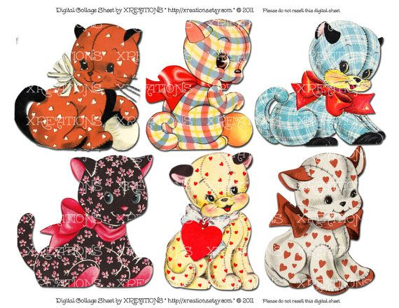Adorable Vintage Pussy Cat Dolls - cute cat cutouts from vintage greeting cards - Digital collage sheet