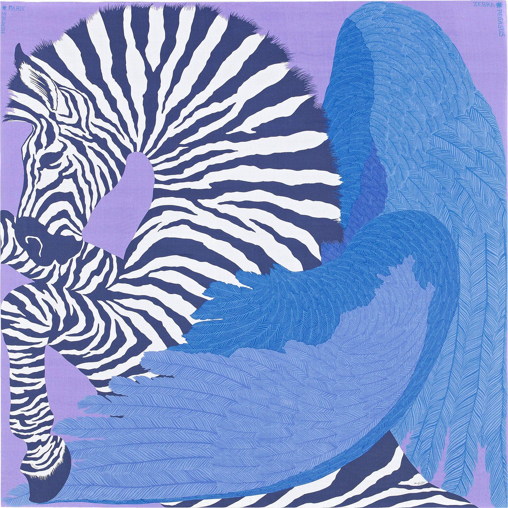Châle 140 x 140 cm Hermès   Zebra Pegasus   Écharpes hermes ... 0434c3c36e0