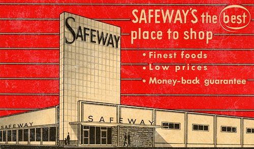 An illustrated vintage ad for Safeway grocery stores