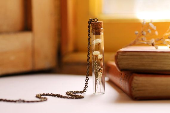 Meaningful flower necklace, Botanical necklace